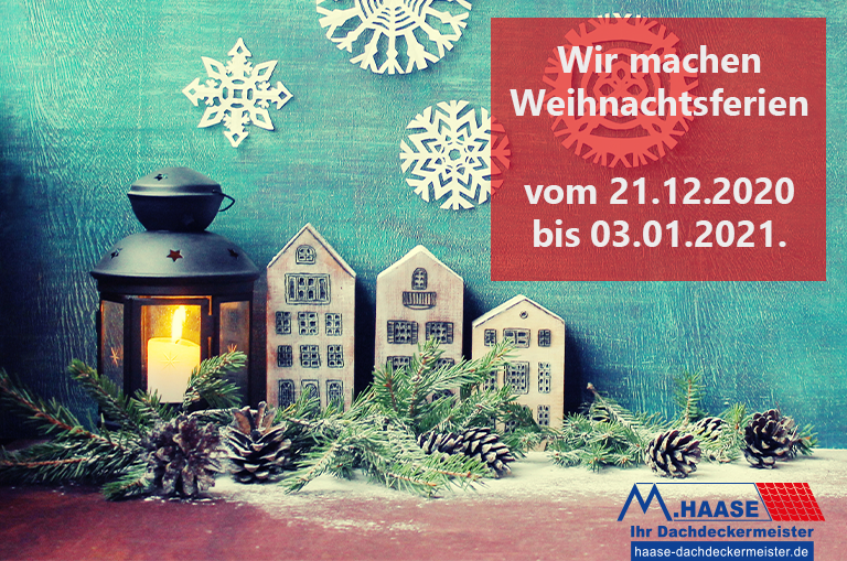 Grafik Weihnachtsferien und Notrufnummer Hasse Dachdeckermeister aus Recklinghausen