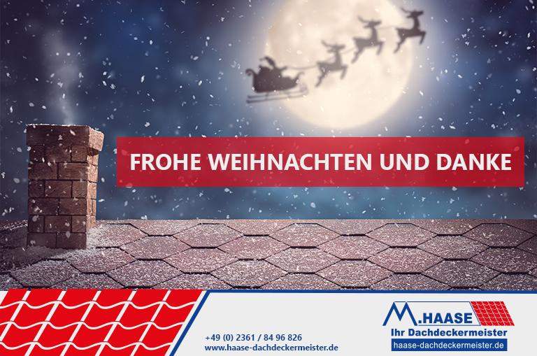Bild für frohe Weihnachten mit Erinnerung an Notfallnummer vom Dachdeckermeisterbetrieb Haase aus Recklinghausen